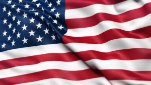 Close up of an American flag waving in the wind